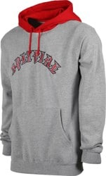 Spitfire Old E Blocked Hoodie - grey heather/scarlet