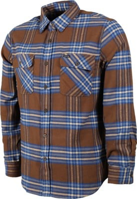 Brixton Bowery X Flannel Shirt - washed brown/mineral blue - view large