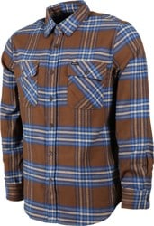 Brixton Bowery X Flannel Shirt - washed brown/mineral blue