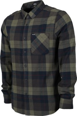 Volcom Caden Plaid Flannel Shirt - army green combo - view large