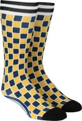 Independent Tiled Sock - yellow/navy check