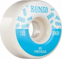 Bones 100's OG Formula V4 Wide Skateboard Wheels - white/blue #14 (100a)