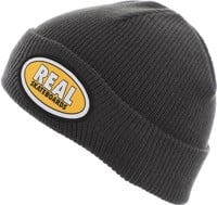 Real Oval Beanie - dark grey/yellow