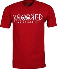 Krooked Krooked Eyes T-Shirt - cardinal/cream