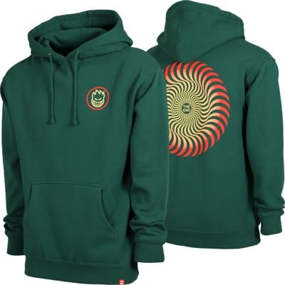 Spitfire Classic Swirl Fade Hoodie - dark green/red/yellow fade - view large