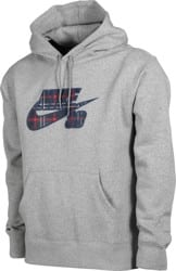 Nike SB Plaid HBR Hoodie - dk grey heather/midnight navy