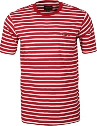 RVCA Baker Striped T-Shirt - bright red