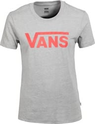 Vans Women's Flying V Crew T-Shirt - cement heather/hot coral