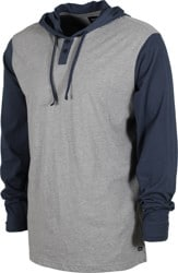 RVCA Pick Up II Hooded L/S T-Shirt - navy/grey