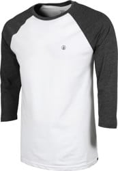 Volcom Solid Heather Raglan 3/4 Sleeve T-Shirt - white/heather charcoal