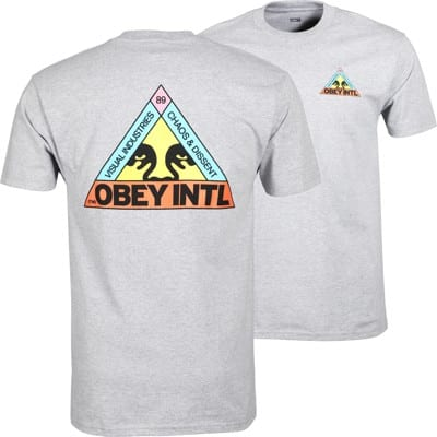 Obey Trinity T-Shirt - heather grey - view large
