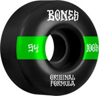 Bones 100's OG Formula V4 Wide Skateboard Wheels - black/green #14