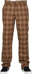 Brixton Choice Chino Pants - washed brown plaid