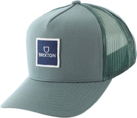 Brixton Alpha Block X Trucker Hat - silver/pine - view large