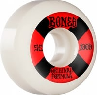 Bones 100's OG Formula V5 Sidecut Skateboard Wheels - white/red #4 (100a)