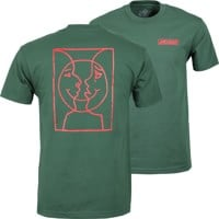 Krooked Moon Smile Raw T-Shirt - forest green/red