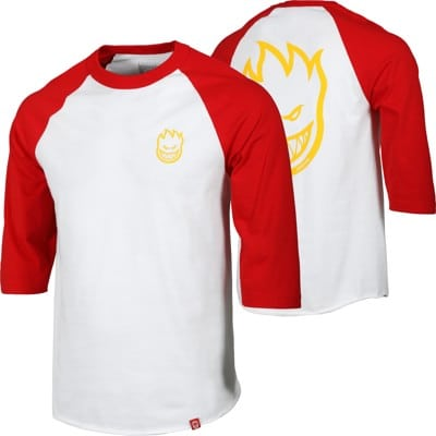 Spitfire Bighead DBL 3/4 Sleeve T-Shirt - white/red/yellow - view large