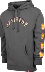 Spitfire Old E Bighead Fill Sleeve Hoodie - charcoal/red/yellow