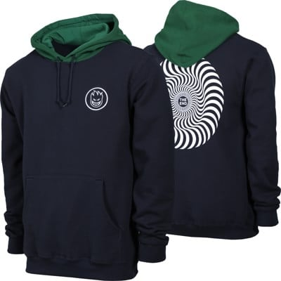 Spitfire Classic Swirl Blocked Hoodie - deep navy/dark green/white - view large