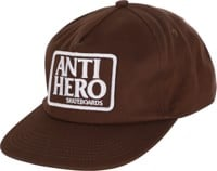 Anti-Hero Reserve Patch Snapback Hat - brown/white
