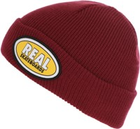 Real Oval Cuff Beanie - dark red/yellow