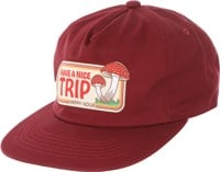 Happy Hour Have A Nice Trip Snapback Hat - burgundy
